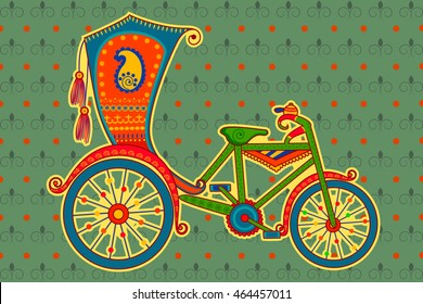 Vector design of cycle rickshaw in Indian art style