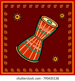Vector design of damru Music instrument in India desi folk art style
