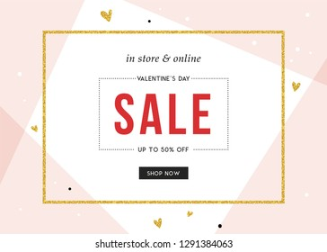 Vector design forValentine's Day sale web banners, posters, flyers. Good for social media, email, print, ads design and promotional material.