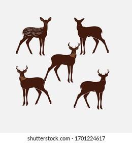 vector design of deer farm animals