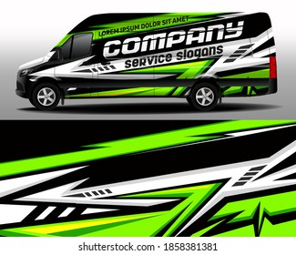 Vector design of delivery van. Car sticker. Car design development for the company. Black with green background for car vinyl sticker
