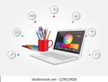 Vector design depicting a computer graphics workshop