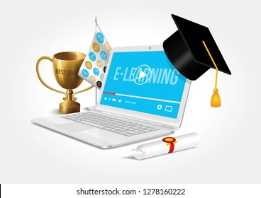 Vector design depicting the internet network as a knowledge base. The concept of e-learning.