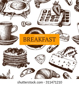 Vector design with different food for breakfast menu. Vintage background with ink hand drawn food illustration isolated on white. Seamless pattern.