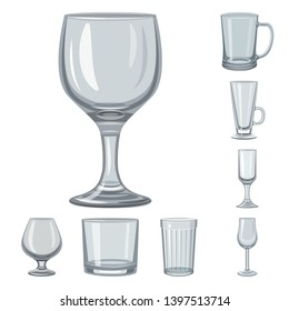 Vector design  dishes and container icon. Collection  dishes and glassware stock symbol for web.