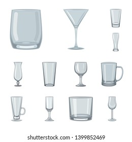 Vector design of dishes and container sign. Collection of dishes and glassware vector icon for stock.