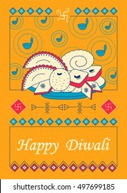 Vector design of Diwali decorated diya with assorted dessert for light festival of India in Indian art style