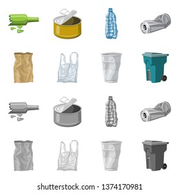 Vector design of dump  and sort icon. Set of dump  and junk stock symbol for web.