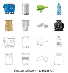 Vector design of dump  and sort sign. Collection of dump  and junk vector icon for stock.