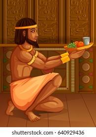 Vector design of Egyptian civilization King Pharaoh God on Egypt palace backdrop