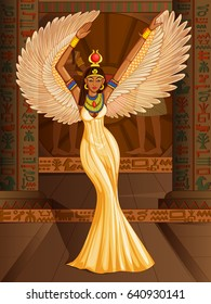 Vector design of Egyptian civilization Queen Goddess on Egypt palace backdrop