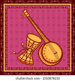 Vector design of Ektara and Damru Music instrument in India desi folk art style