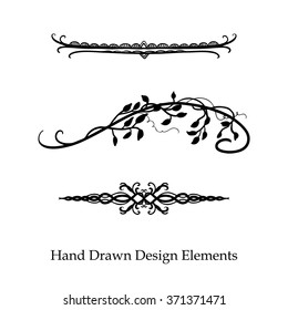 vector design element, beautiful fancy curls leaves vines and swirls divider or underline designs, black ink lines. Can be placed on any color. Wedding design element.