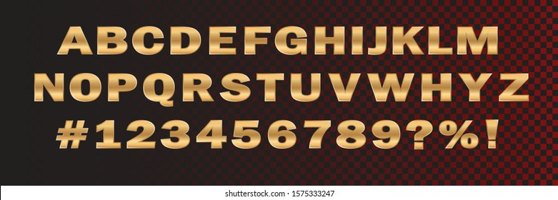 Vector design element of gold font numbers and typography alphabet letters. Vecton illustration on a dark isolated background