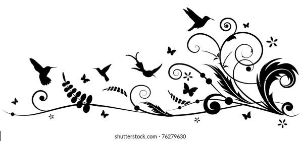 vector design element with hummingbird and butterflies