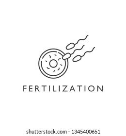 Vector design element and icon in linear style - pregnancy and fertilization. Logo sign