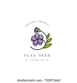 Vector design element and icon in linear style - flax seed oil - healthy vegan food. Organic butter ingredient. Logo sign