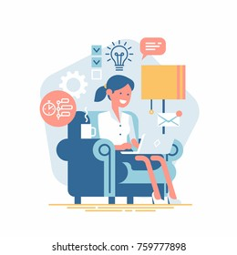 Vector design element on creative industry professional sitting in armchair with laptop working on idea surrounded by creative process icons and symbols