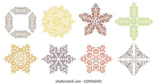 Vector Design Element. Round ornament decoration. Line flower pattern. Stylized floral motif.  Snowflakes.