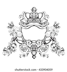 Vector design element, royal frame and page decoration.Victorian  frame and floral ornament black and white isolated.