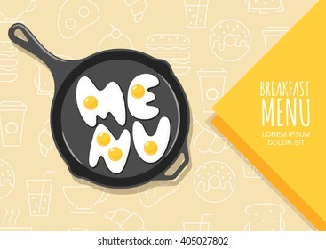 Vector design elements for banner, flyer, breakfast menu, cafe, restaurant. Letters made from fried eggs on pan. Linear fast food icons and symbols background. Creative food lettering.