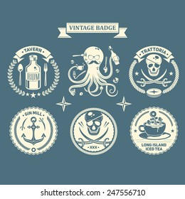 Vector design elements, business signs, identity, labels, badges, black mark, logos of pubs, cafes and canteens.Retro Vintage Piratical Insignias or Logotypes set.