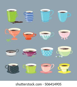 Vector design elements of the different coffee cups. Different  sizes and shapes of the mugs arranged on the gray background. Modern colors and flat design.