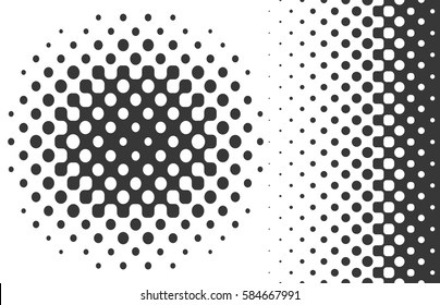 Vector design elements. Linear and radial gradient halftones.