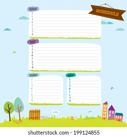 Vector design elements for notebook, diary, organizer and other school template design. Cute and cartoon illustration note papers, ready for your message. Summer, spring, sun, flower, sea, beach.