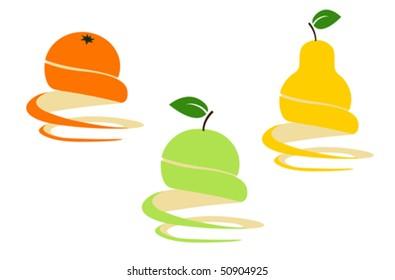 Vector design elements; orange, apple, pear