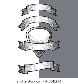 Vector design elements for ribbons and banners. Vintage styled graphic technique and tattoo blackwork and dotwork