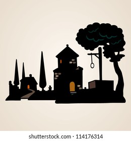 Vector design elements, silhouettes of  landscapes
