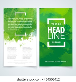Vector design elements template for business brochure, leaflet, poster or flyer on colorful watercolor background