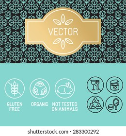 Vector design elements in trendy linear style - label and icons for beauty and cosmetic products package - emblems gluten free, organic and not tested on animals