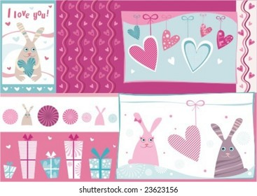 vector design elements for Valentines day