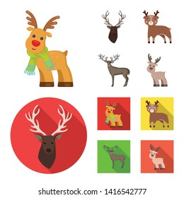 Vector design of elk and head sign. Set of elk and stag stock vector illustration.
