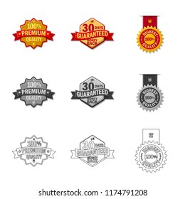 Vector design of emblem and badge icon. Collection of emblem and sticker vector icon for stock.
