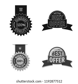 Vector design of emblem and badge logo. Set of emblem and sticker vector icon for stock.