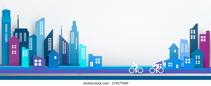 Vector Design - eps10 Building and City Illustration, City scene, Abstract 3D Buildings