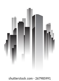 Vector Design - eps10 Building and City Illustration, Abstract City scene black style, City skyline silhouette with reflection on night