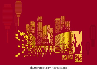 Vector Design - Eps10 Building and City Illustration at night, City scene on night time, Urban cityscape on China style