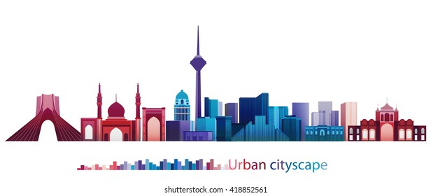 Vector Design - eps10 Colorful Building and City, Tehran cityscape, Abstract City scene of Tehran Iran, Twilight in city