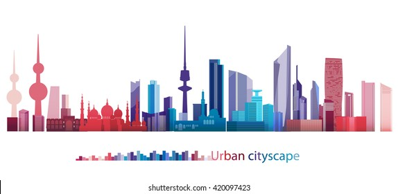 Vector Design - eps10 Colorful Building and City, Kuwait cityscape, Abstract City scene of Kuwait, Twilight in city