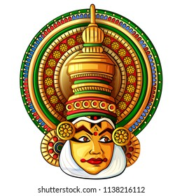 Vector design of face of Kathakali classical dance of Kerala, India