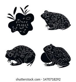 Vector design of fauna and reptile logo. Set of fauna and anuran stock symbol for web.