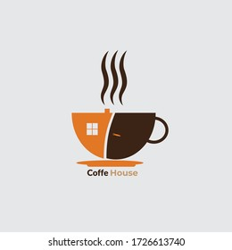 Vector design of flat coffee house logo. business logo, product logo