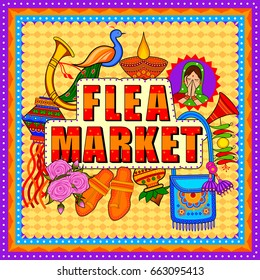 Vector design of Flea Market background in Indian Truck Art style