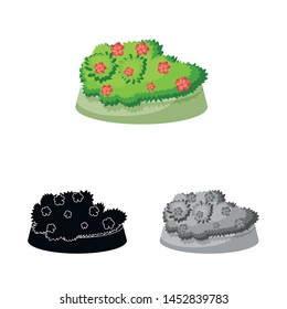 Vector design of flowerbed and garden icon. Set of flowerbed and bush stock vector illustration.