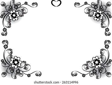Vector design flowers border black white stock vector royalty free vector design flowers with border in black and white mightylinksfo