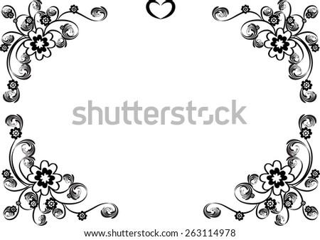 Vector Design Flowers Border Black White Stock Vector Royalty Free